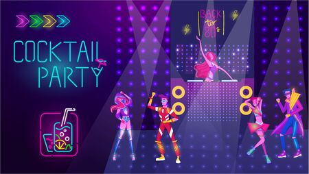 Cocktail party in night disco club, people dance, bright neon light vector illustration. Dancing in disco music. Neon nightclub. 向量圖像