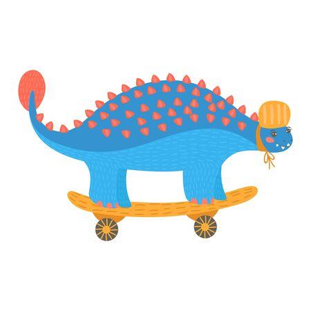 Colorful cartoon dinosaur ride on transport, fun skateboarding, design flat style vector illustration isolated on white.