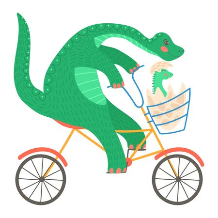 Pretty, cartoon dinosaur ride transport, useful cycling, comfortable vehicle, flat style vector illustration, isolated on white.