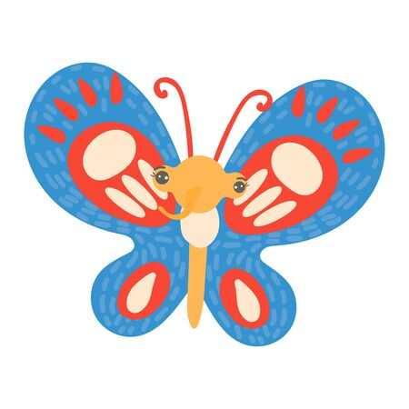 Colorful butterfly in cute, cartoon style, bright, winged insect, live nature design, flat vector illustration, isolated on white.