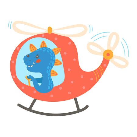 Blue cute dinosaur in cartoon style, flying no air transport, red children s helicopter, design, flat style vector illustration.