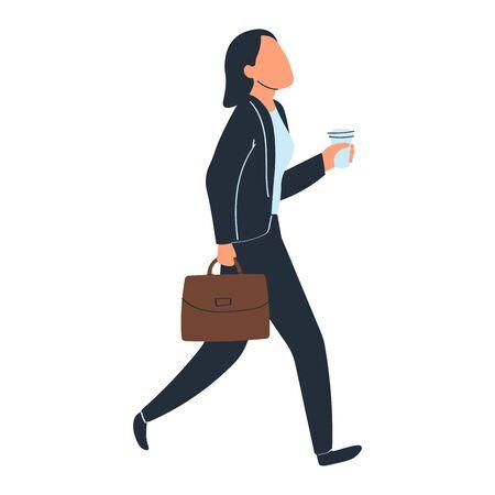 Depicting running businessman, stylish man, fashionable suit, Isolated on white, design, flat style vector illustration. 向量圖像