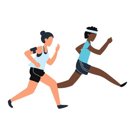 Fitness training sports young people, runners on race distance Isolated on white, design, flat style vector illustration. 向量圖像