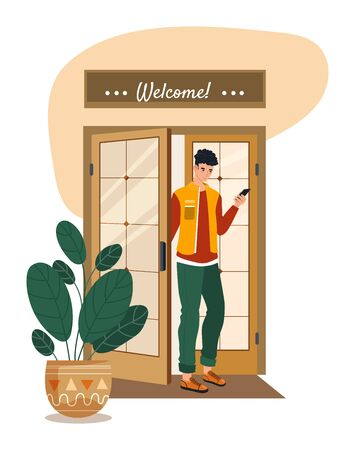 Male character customer restaurant, exit from cafe door watch into mobile phone, smartphone isolated on white, flat vector illustration.