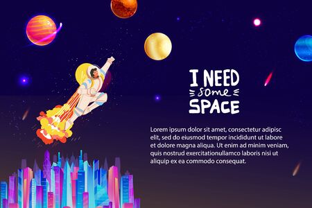 Space universe travel flat concept vector illustration, cartoon spaceman character in astronaut costume flying to planet or stars background