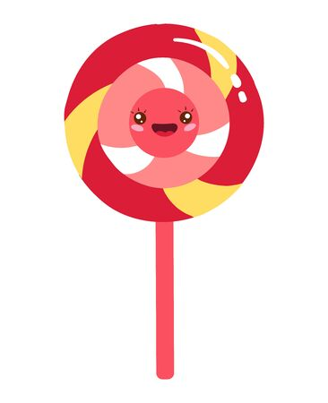 Big lollipop, sweet food, bright funny kawaii, in cartoon style, round candy, flat vector illustration, isolated on white.