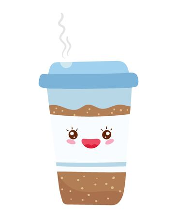 Hot coffee, warming food, bright funny kawaii, in cartoon style, disposable glass, flat vector illustration, isolated on white.