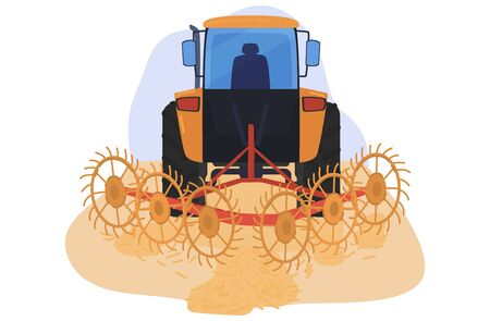 Harvesting field wheat, farming equipment technique grain isolated on white, flat vector illustration. Concept agricultural machinery. Illustration