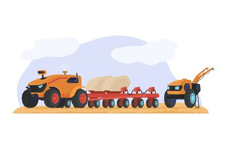 Harvesting field wheat, farming equipment technique grain isolated on white, flat vector illustration. Concept agricultural machinery.  イラスト・ベクター素材
