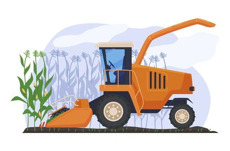 Industrial equipment high bush corn, concept agricultural machinery isolated on white, flat vector illustration. Corn cob machinery processing.