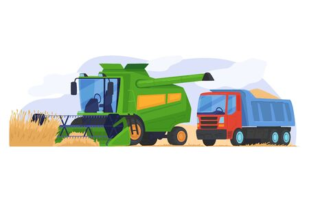 Harvesting cereal field, modern tractor prepared seed to track isolated on white, flat vector illustration. Concept agricultural device machinery.