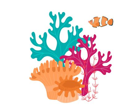 Colorful seascape in cartoon style, underwater world oceanic coral reef, design, flat vector illustration, isolated on white.