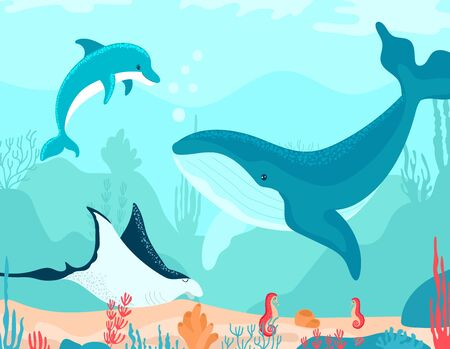 Funny, oceanic landscape in cartoon style, underwater world, sea coral reef, design, flat vector illustration, isolated on white.