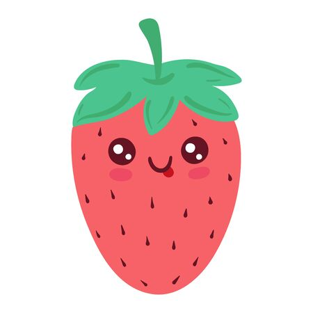 Fresh strawberry, bright funny kawaii, in cartoon style, wholesome food, design, flat vector illustration, isolated on white. 向量圖像