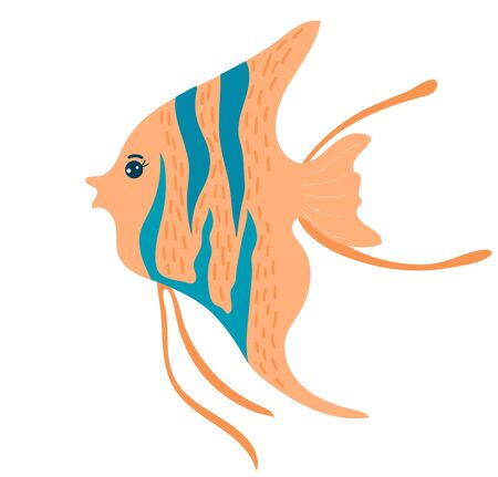 Cartoon beautiful flat fish, marine life, cute ocean animal, wildlife underwater, design, flat style vector illustration.