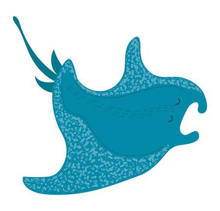 Cartoon style fish, stingray, marine, ocean animal, wildlife underwater, design, flat vector illustration, isolated on white. Vettoriali