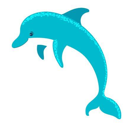Cartoon style, dolphin active fish, marine life, ocean animal, wildlife underwater, flat vector illustration, isolated on white.