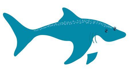 Cartoon style, shark, fish, dangerous inhabitant, ocean predatory, wildlife underwater, design, flat vector illustration.