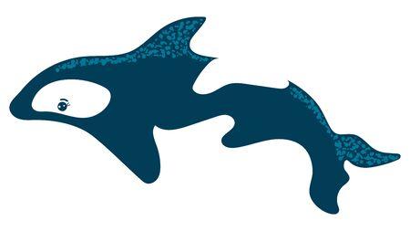 Cartoon style, killer fish, dangerous inhabitant, ocean predatory fish, design, flat vector illustration, isolated on white. 向量圖像