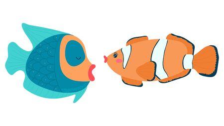 Cartoon style, funny clown fish, bold anemone, wildlife underwater, design, flat vector illustration, isolated on white. Vettoriali