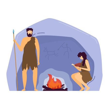 Character male female caveman, barbarian family rest cavern isolated on white, flat vector illustration. Warrior man hand hold ancient spear. 向量圖像