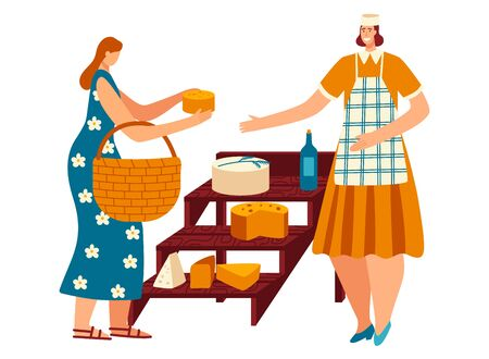 Woman buy homemade cheese and wine from marketplace, character female seller cheese isolated on white, flat vector illustration. 일러스트