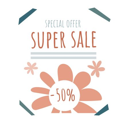 Poster special offer super sale banner, design concept ads brochure isolated on white, flat vector illustration. Advertisement business flyer. 向量圖像