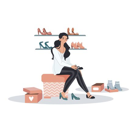 Woman character sitting store trying shoes, female fitting collection fashion boots isolated on white, cartoon vector illustration. 向量圖像