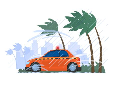 Car parking rain storm, hurricane wind tropical country isolated on white, cartoon vector illustration. Vehicle transport consequences natural disaster.