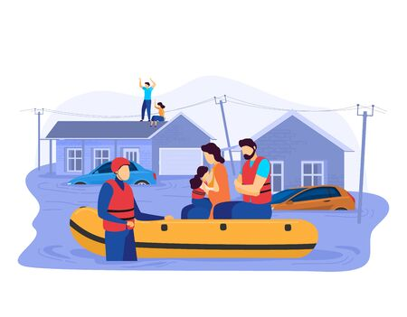 Tsunami consequences, rescue male female character evacuation save inflatable boat people victim flood isolated on white, cartoon vector illustration. Vecteurs