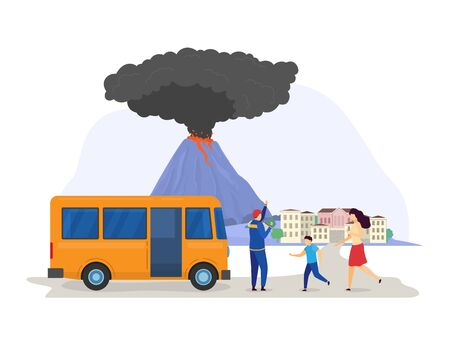 Natural disaster cloud eruption volcano evacuation, rescue save people population from catastrophe city isolated on white, cartoon vector illustration.