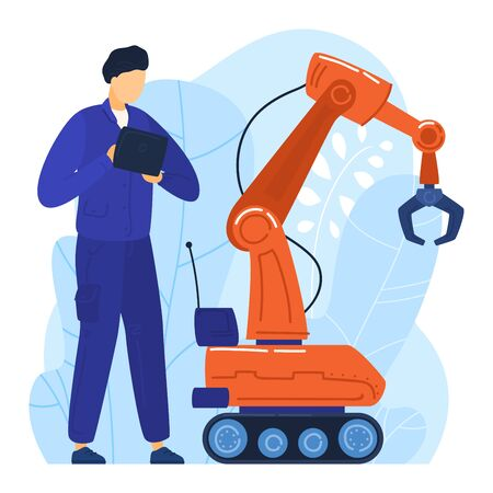 Young modern professional specialist build robot hand manipulator isolated on white, flat vector illustration. Engineer developed device.