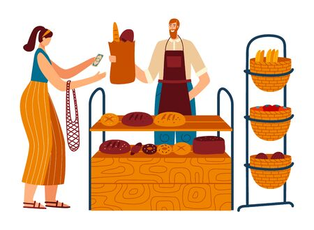 Woman buy homemade bread from bakery chef, character male bakehouse cook isolated on white, flat vector illustration. Female client purchase fresh pastry.