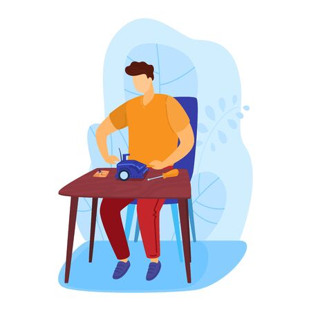 Male character amateur builder engineer screwdriver work home isolated on white, flat vector illustration. Professional execution activity. Stock Illustratie