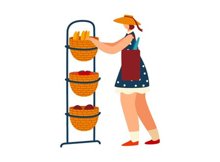 Woman character bakery chef pushes pastry cabinet, female culinary cook carry fresh bread isolated on white, flat vector illustration.