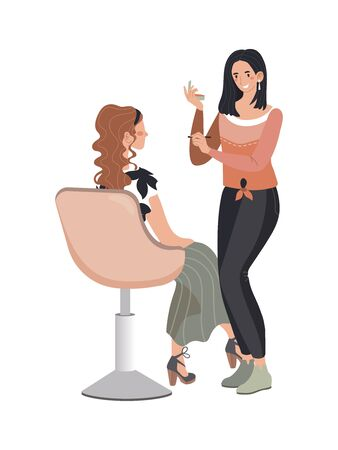 Female hairdresser professional fashion haircut, woman character client discuss fashionable hairstyle isolated on white, flat vector illustration. 向量圖像