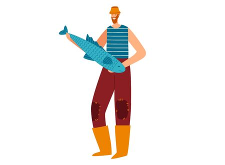 Character male standing pose, man hold fresh big fish, fisherman wear yellow boots and old clothes isolated on white, flat vector illustration. 向量圖像