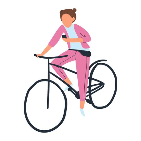 Riding young cyclist, lifestyle, healthy person, active activity, Isolated on white, design, flat style vector illustration.