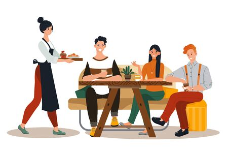 Group friend together eat in restaurant, character people male female rest cozy cafe design isolated on white, flat vector illustration.