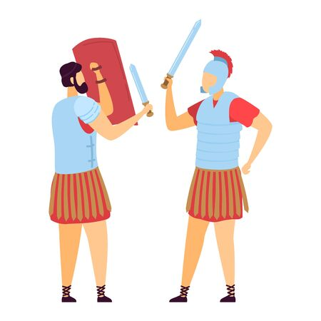 Greek roman male character warrior, ancient soldier attack sword defender with shield, old time fighter isolated on white, flat vector illustration. Illusztráció