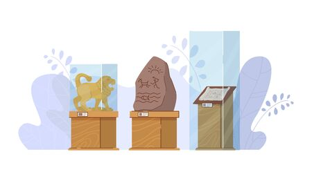 Museum exhibit stuff, glass protective box stand historical ancient showpiece isolated on white, flat vector illustration.