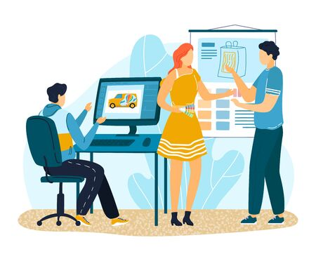 Office design paint press agency, female male character discuss working question isolated on white, flat vector illustration.