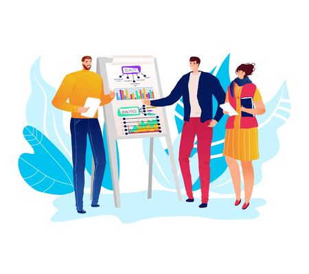 Present business plan character male female discuss start up company schedule isolated on white, flat vector illustration.