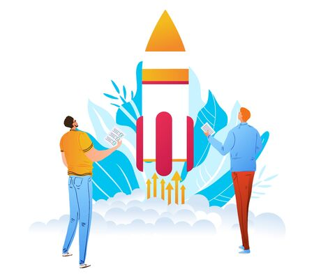 Startup launching process infographic technology character male prepared launch company rocket isolated on white, flat vector illustration.