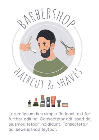 Poster barbershop hairstyle , fashion design barber salon haircut and shave isolated on white, flat vector illustration.
