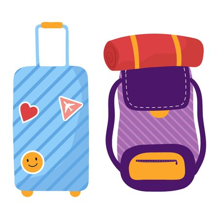 Hostel filled with tourists, trip young people, traveler luggage, Isolated on white, design, flat style vector illustration.