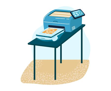 Small replicate machine for copies document, office workflow typing special machinery isolated on white, flat vector illustration.