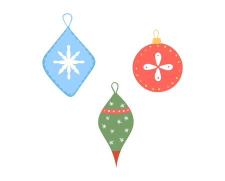 Set colorful Christmas toys for room decoration, festive mood, design in cartoon style vector illustration