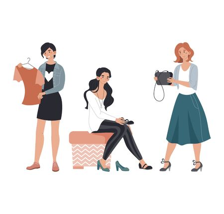 Character female people stand clothing shop, market shopping sale woman choose bag blouse and shoes isolated on white, cartoon vector illustration.