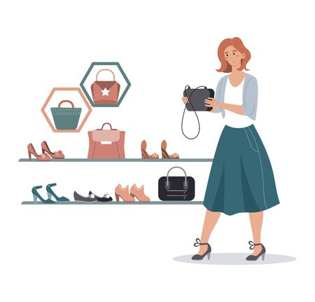 Character female hold handbag, choose leather bag and shoes, modern boutique sale isolated on white, cartoon vector illustration.